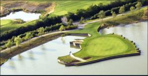 Inselgrün an Bahn 11 des Niedersachsen Course im Golf Club Hardenberg. (Foto: Twitter.com@schwartzou)