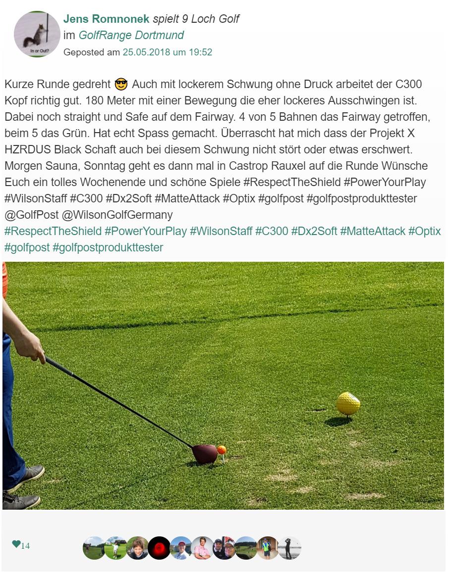Jens Romnoneck berichtet in der Golf post App über seinen Produkttest.