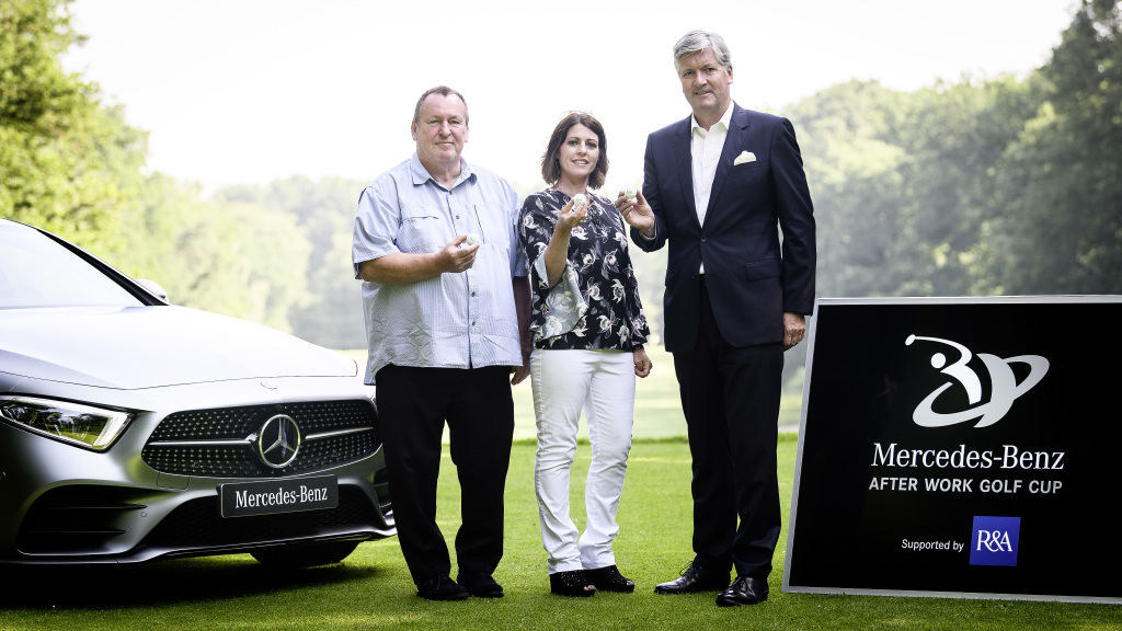 Klaus Finger, Managing Director W&L Internationale Golf AG, Nicola Brackston, Mercedes Benz Sport Sponsoring International Golf und Michael Tate, Executive Director Business Affairs The R&A bei der Pressekonferenz im Frankfurter Golfclub (Foto: Daimler)