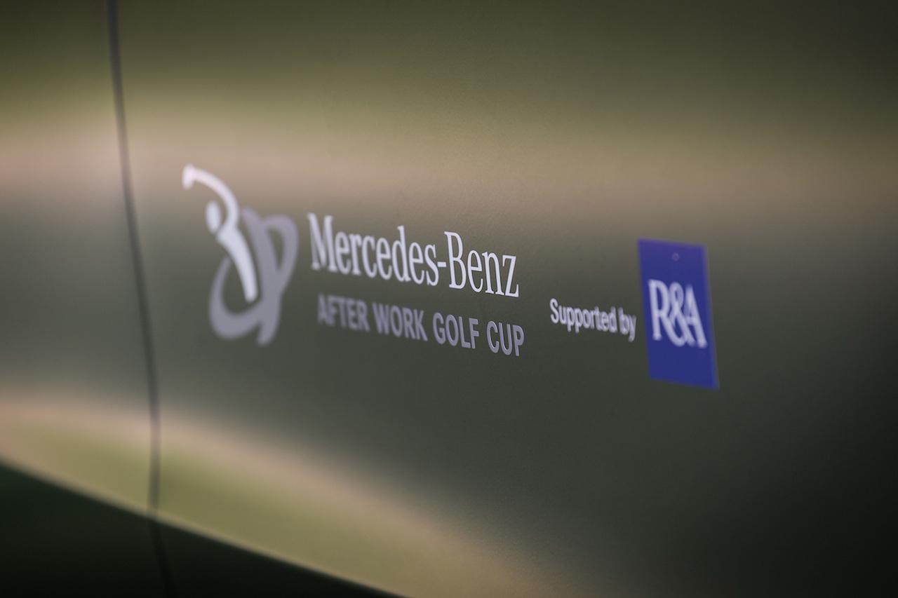 Das neue Logo des Mercedes-Benz After Work Golfcup, präsentiert auf der Pressekonferenz im Frankfurter GC (Foto: Daimler)