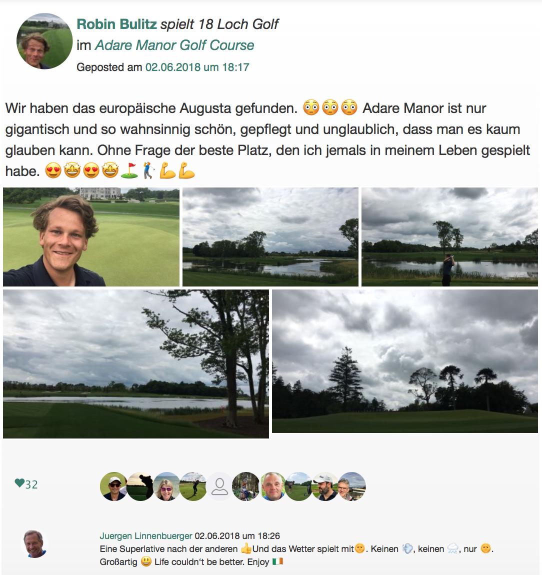 """Unser Redakteur hat seine Eindrücke aus dem """"Adare Manor Golf Club"""" auch in der Community festgehalten. (Foto: Golf Post)"""