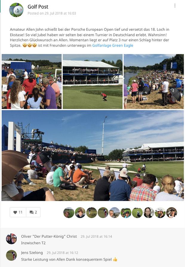 In der Golf Post App haben wir die Szenen nach Allen Johns Runde an Loch 18 festgehalten. (Foto: Golf Post)