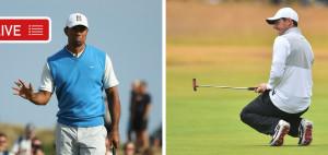 Tiger Woods und Rory McIlroy sind der Spitze am Moving Day der Open Championship 2018 ganz dicht auf den Fersen. Jetzt LIVE verfolgen. (Foto: Getty)