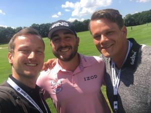 Stephan Jäger mit Tobias Hennig und Robin Bulitz von der Golf Post. (Foto: Golf Post)