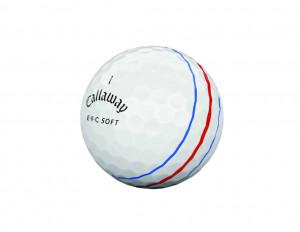 Die drei Ausrichtungslinien auf dem ERC Soft Golfball sind in blau und rot gehalten. (Foto: Callaway)