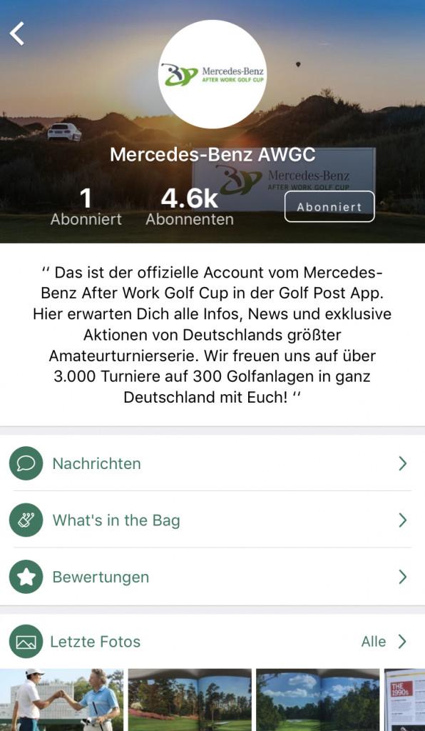 Mit dem Mercedes-Benz AWGC Channel in der Golf Post App bleiben Sie immer auf dem Laufenden. (Foto: Golf Post)