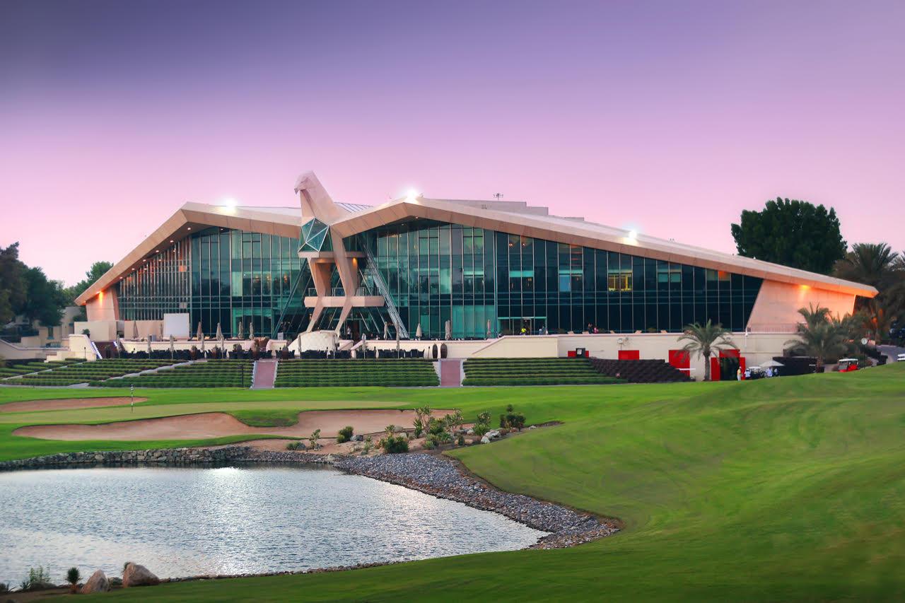 (Foto Abu Dhabi Golf Club: Neuntes Grün vor dem Clubhaus)